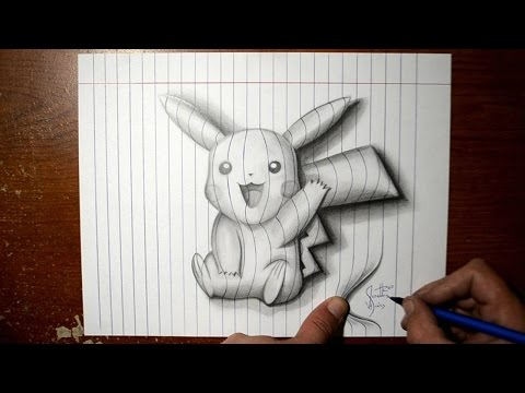 how-to-draw-pikachu---line-paper-3d-trick-art