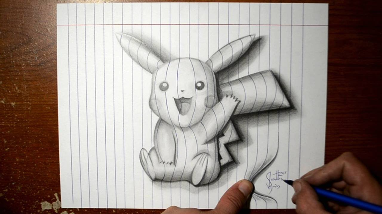 Easy 3d Line Drawings : How to draw pikachu line paper d trick art youtube