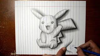 How to Draw Pikachu - Line Paper 3D Trick Art