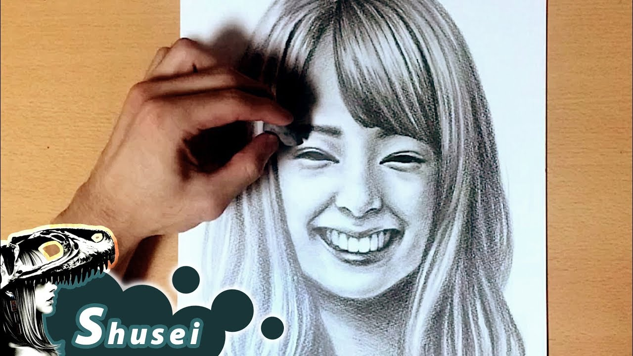 How to draw a smiling face pencil drawing 鉛筆画/笑顔の描き方