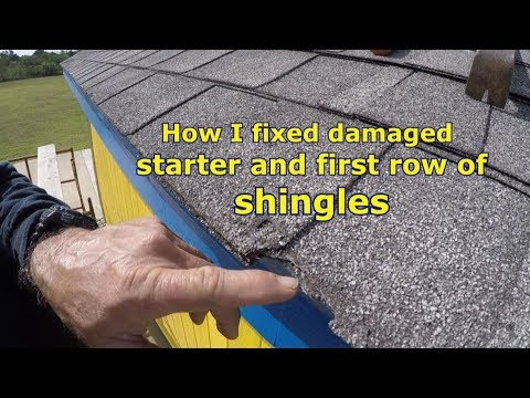 Shingle repair, how I fixed damaged edge on starter and first row