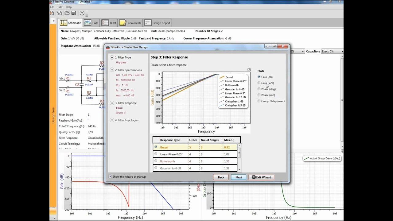 Preview Of Filter Design Software Filterpro