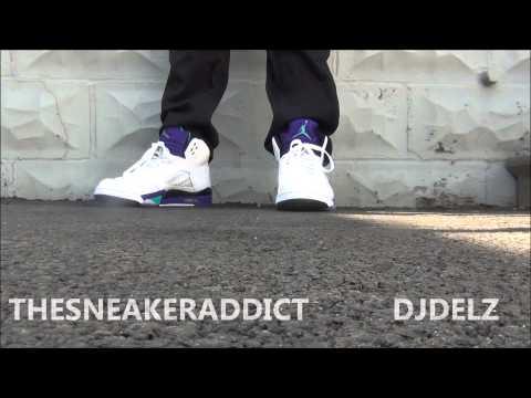 2013 Air Jordan V Grape 5 Sneaker Review With @DjDelz + On Feet HD DJ DELZ THE SNEAKER ADDICT