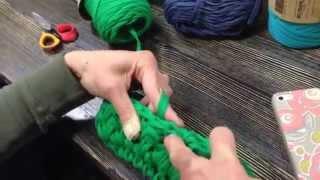 Вязание крючком из трикотажной пряжи. Узор