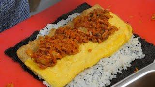 2000원! 줄서서 먹는 김치 김밥, 재료를 통째로 넣어줌 - 광안시장 박고지 김밥 / Popular kimchi kimbap - Korean street food