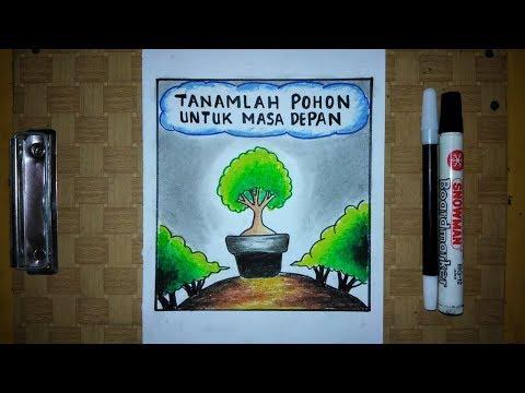 Cara Menggambar Poster Lingkungan Go Green Mudah Banget Youtube