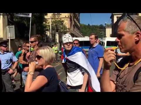 Anti Merkel Demonstration in Prague Live