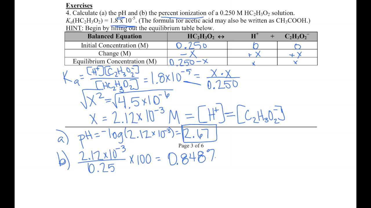 Acid Base Equilibrium Worksheet YouTube – Equilibrium Worksheet