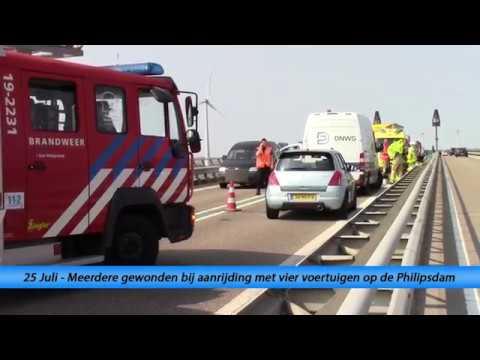 Meerdere gewonden bij aanrijding met vier voertuigen op de Philipsdam