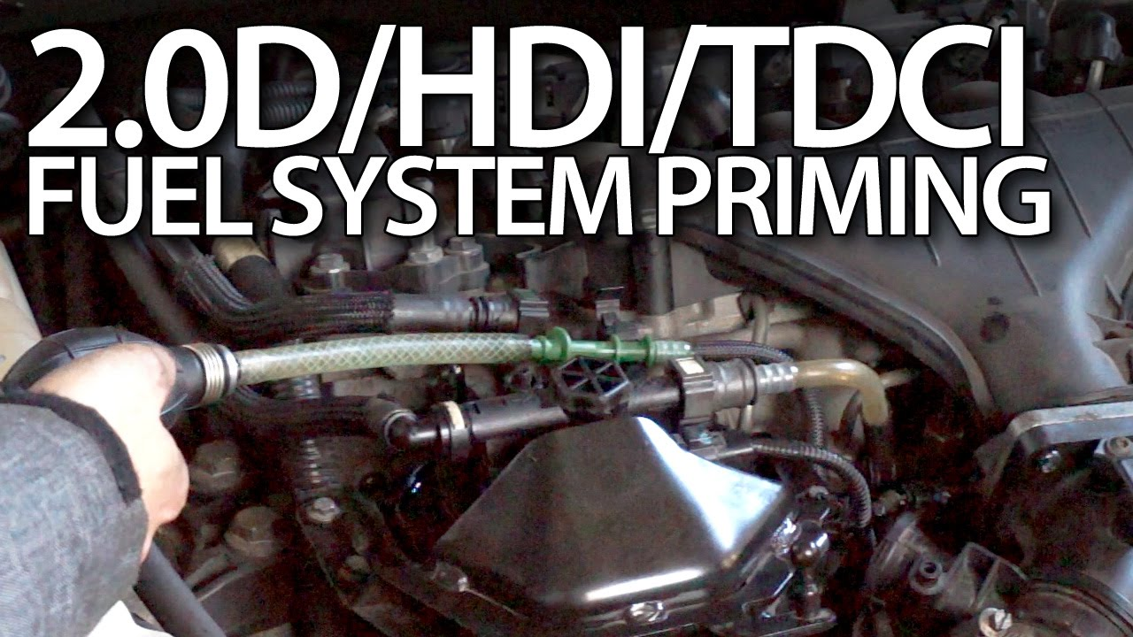 small resolution of priming fuel system in volvo 2 0d ford 2 0tdci peugeot 2 0hdi citroen 136ps youtube