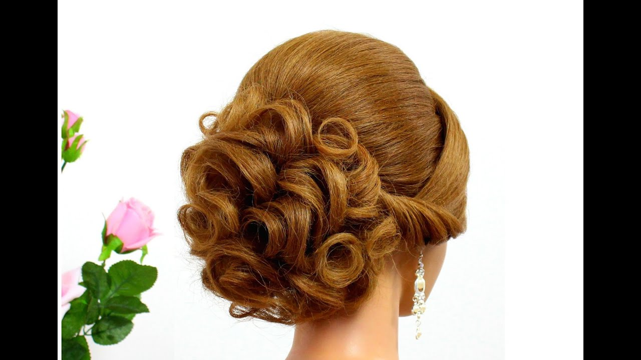 bridal hairstyle for long hair tutorial. curly updo for wedding.
