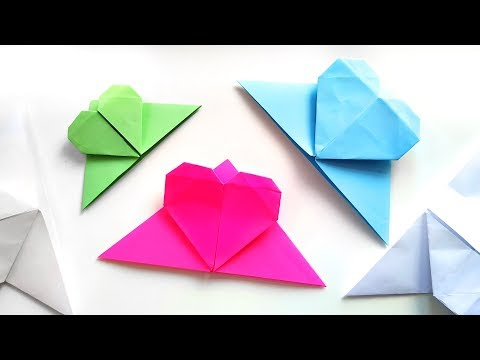 DIY Origami Corner Bookmarks with Heart - Easy Paper Crafts Tutorial