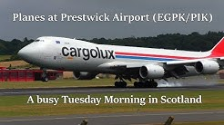 Plane Spotting at Glasgow Prestwick Airport - USAF C-5 + KC-135, Cargolux Boeing 747-8 and more!