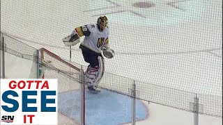 Marc-Andre Fleury Tries to Block Empty Net with Snow But Gets Caught