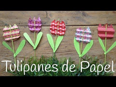 Manualidad de papel y pajitas: Tulipanes de colores fáciles de hacer