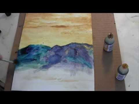 Alcohol Ink/Wax Resist: Mountain Range by Pat Gullett