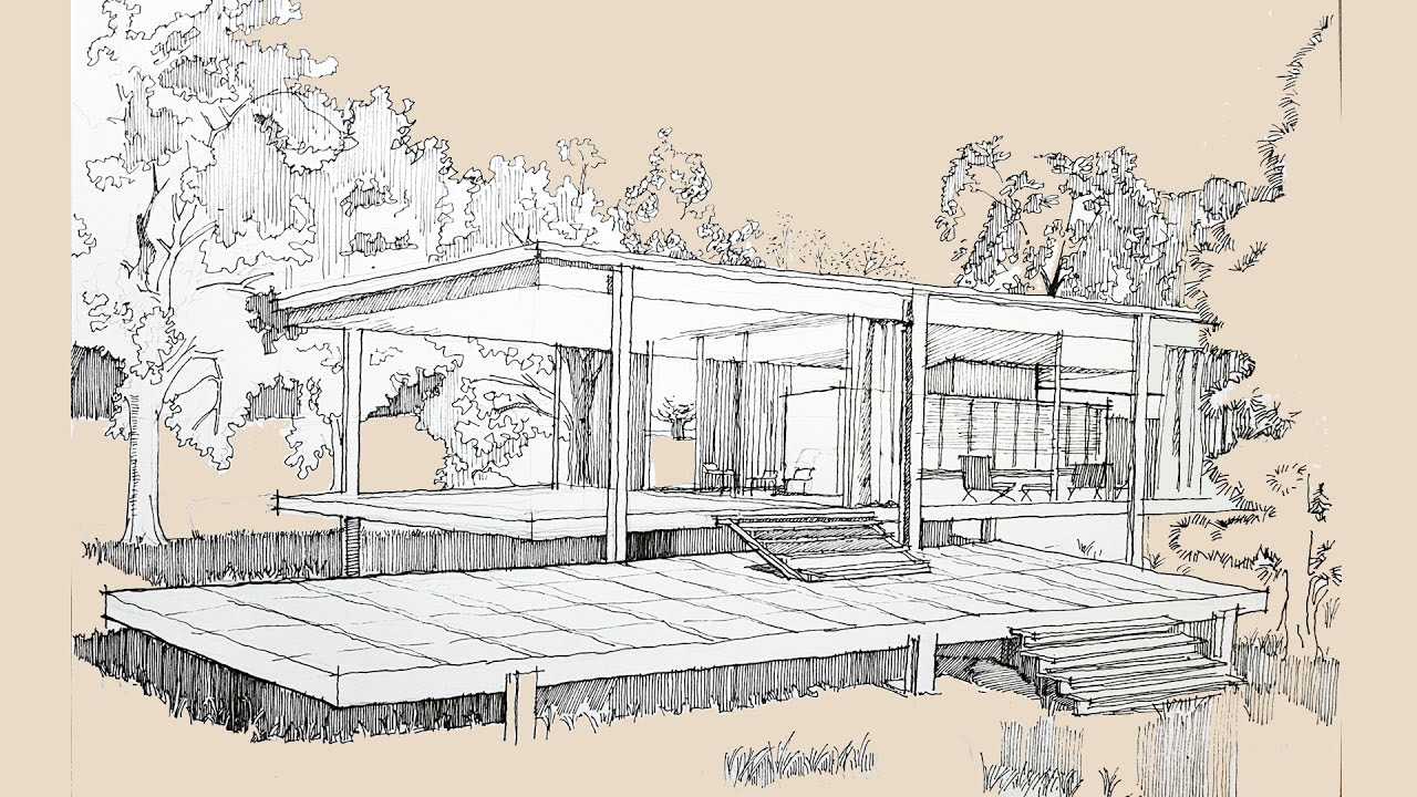 architecture sketch 002 farnsworth house by mies van der rohe youtube. Black Bedroom Furniture Sets. Home Design Ideas