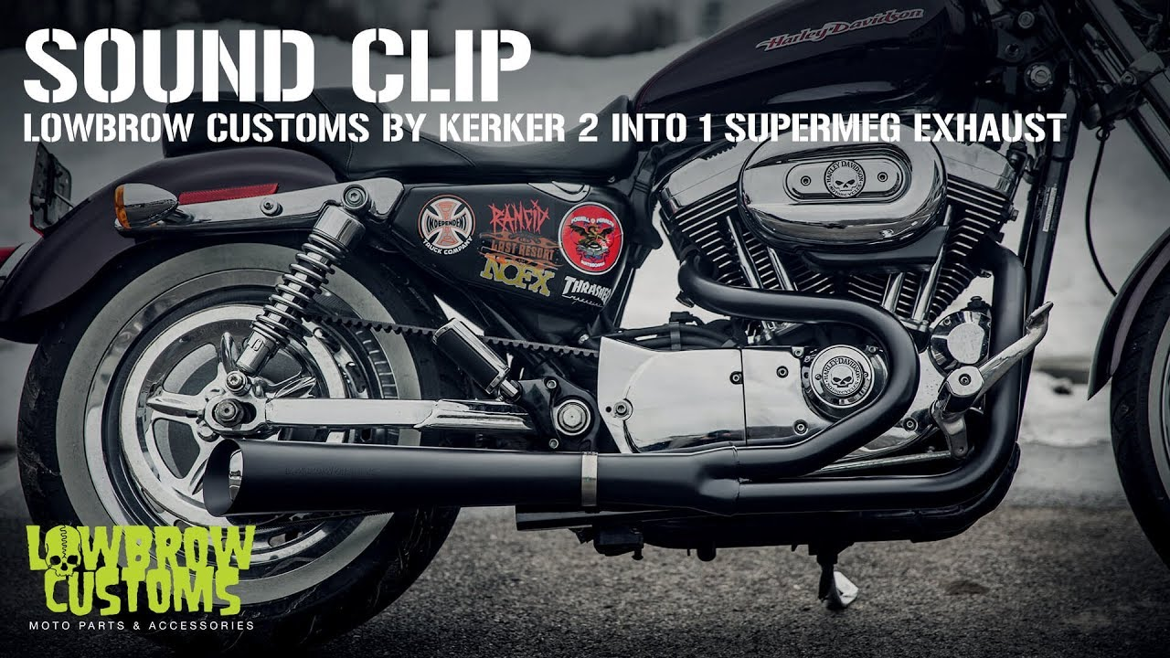 lowbrow customs 2 into 1 supermeg exhaust by kerker for harley davidson sportster sound clip
