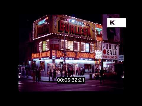 1970s Times Square at Night, Broadway, Gritty New York, HD from 35mm