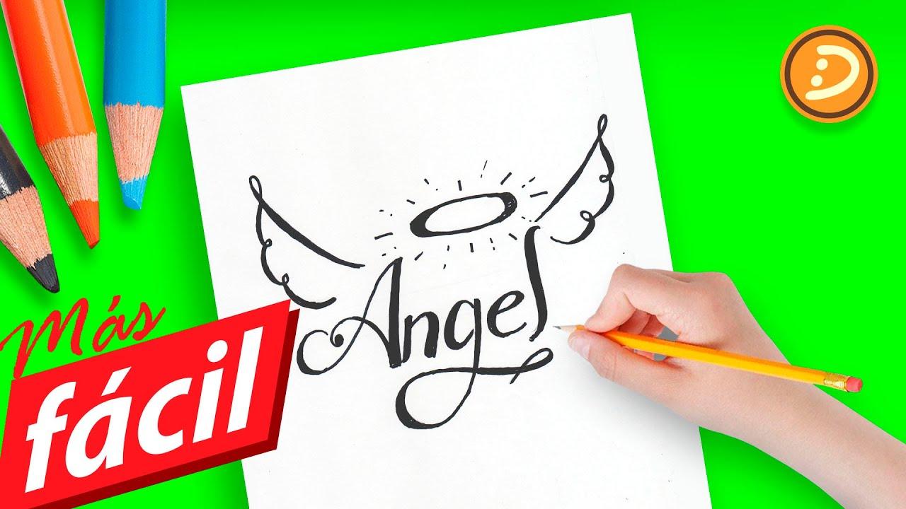 Como dibujar un ángel a lápiz paso a paso fácil con letras | How to ...