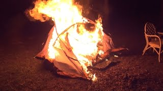 WE SET GRANDPA'S TENT ON FIRE!!!