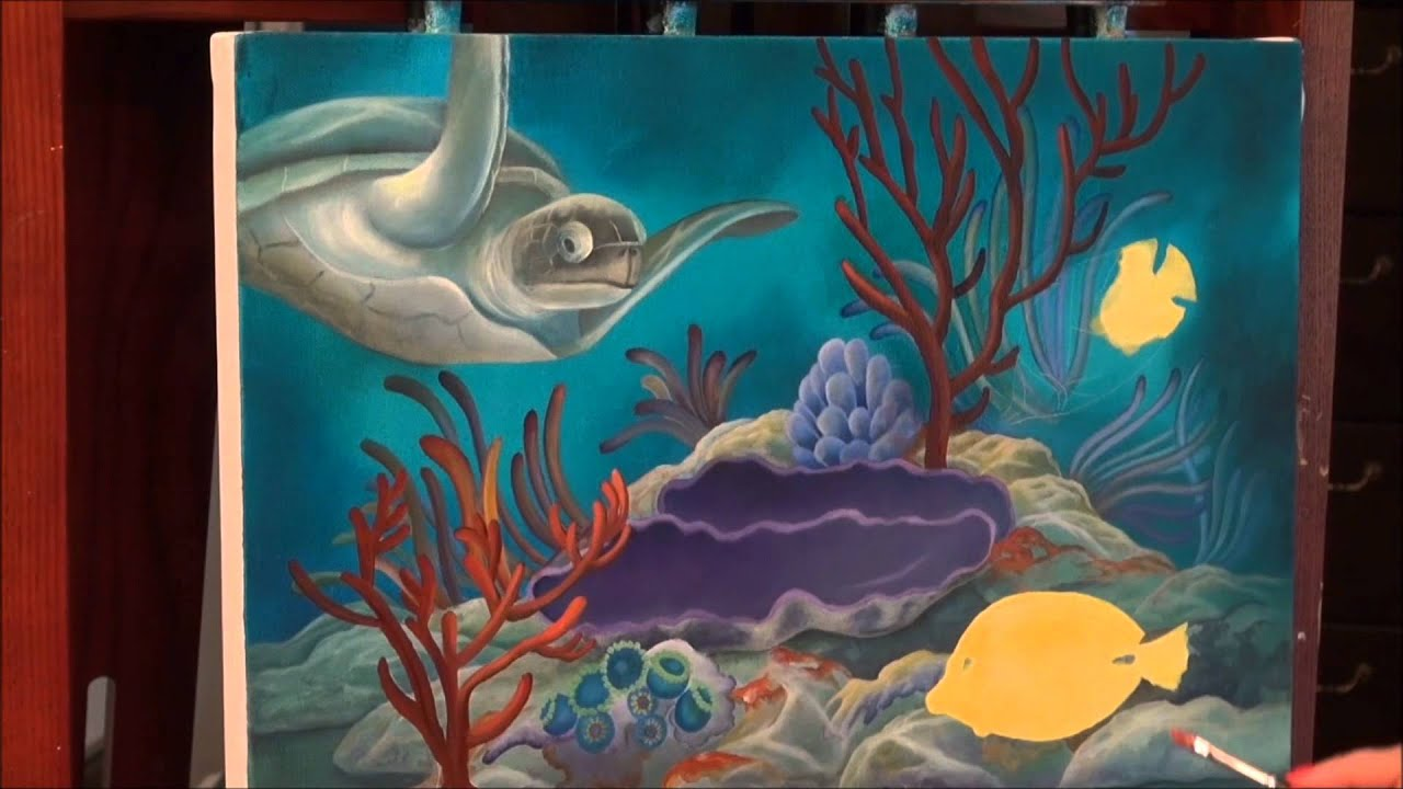 How To Paint A Mural On A Wall Acrylic Painting How To Paint Tropical Reef Youtube