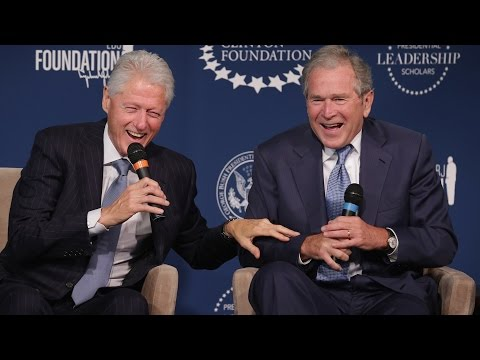George W. Bush and Bill Clinton