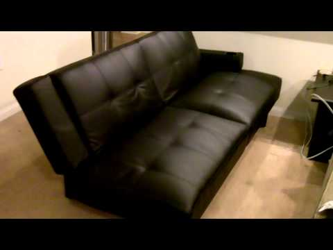 futon-couch:-black-leather-+-cup-holders:-nice!