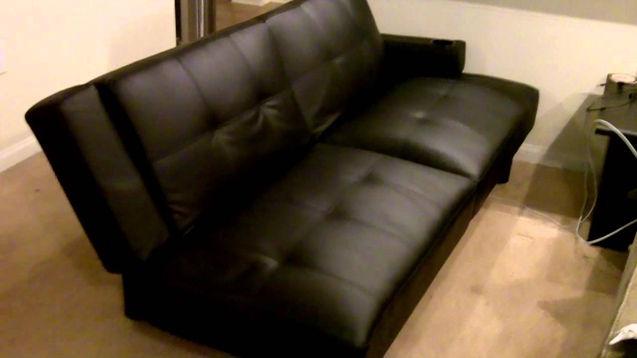 futon couch  black leather   cup holders  nice    youtube  rh   youtube