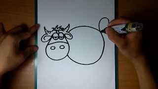 How to draw cartoons cow