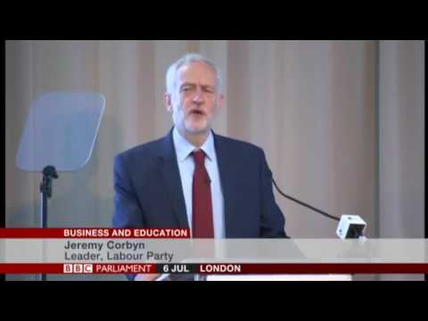 Jeremey Corbyn making a speech on business and education at a British Chambers of Commerce