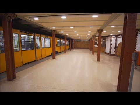 Hungary, Budapest, Metro night ride from Oktogon to Opera