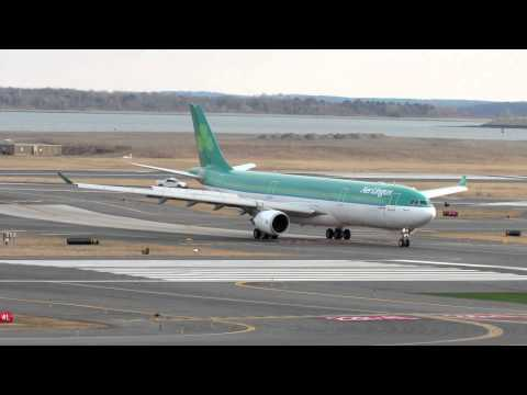 Aer Lingus Airbus A330 Landing And Taxi In At Boston [HD] - February 18, 2012