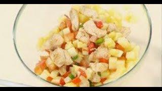 Салат из куриной грудки, перца, помидоров и картошки / рецепт  шеф-повара / Илья Лазерсон