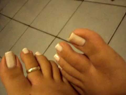 French Pedicure and Ring toe