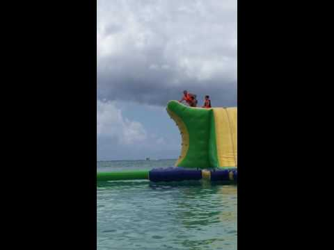 Brian and the boys play on splash zone in grand Cayman