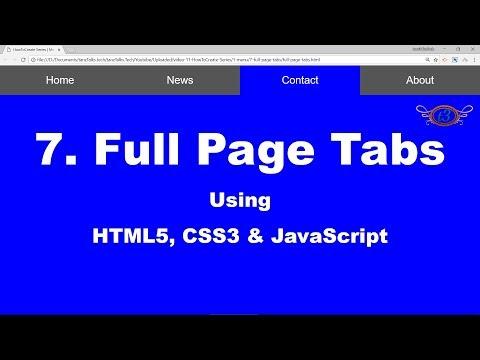 7. Full Page Tabs | Menu | HowToCreate Series | HTML5, CSS3 & JavaScript