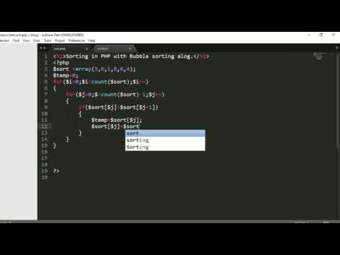 sorting with php | bubble algorithm in php | data structure with php | top php