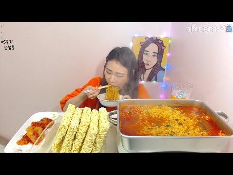 면프란 라면 최대 몇 개 라최몇 도전 먹방 Challenge Mukbang eating show 180130 How Much Ramens Can I Eat?