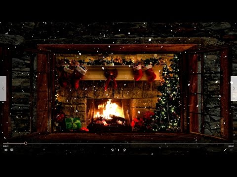 🎅Christmas Fireplace Window Scene with Snow and Relaxing Music