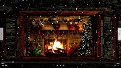 Christmas Fireplace Window Scene with Snow and Relaxing Music