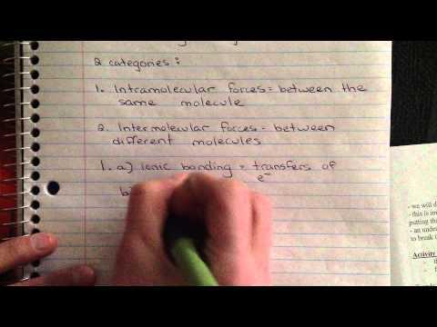 Introduction to Bonding Unit 1: Intramolecular vs. Intermolecular Forces