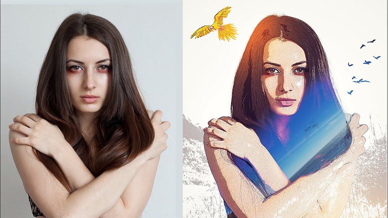 Cool lighting portrait photoshop effects tutorial youtube baditri Choice Image