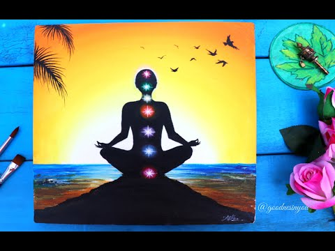 A Meditating Yoga Chakra Painting for Beginners / Step by Step Tutorial using Acrylic Colours