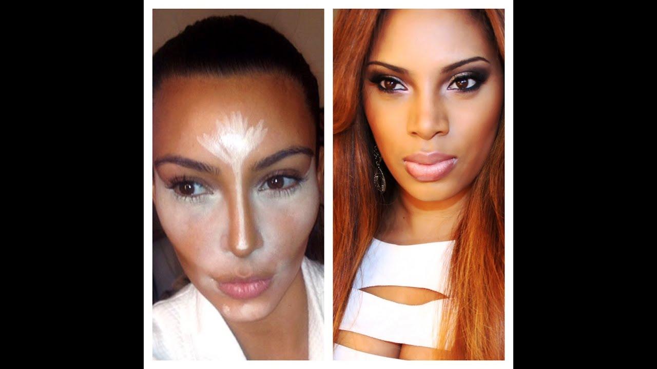 Kim Kardashian Inspired Makeup/ Highlight & Contouring - YouTube