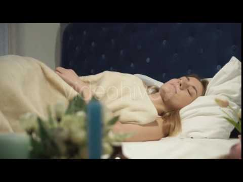 Red Alarm Sounds, The Girl Is Sleeping Off And On. - Stock Footage | VideoHive 14961896