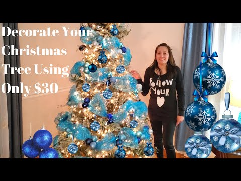 How To Decorate Your Christmas Tree Using Only $30/ Blue DecoMesh
