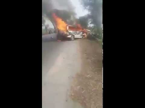 Bus and car accident on sargodha road