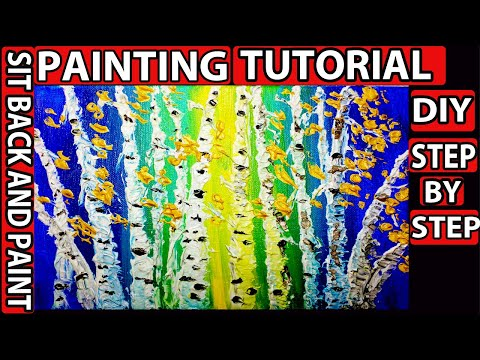 Step by step DIY easy painting. How to paint Birch trees Acrylic painting tutorial. Relaxing art