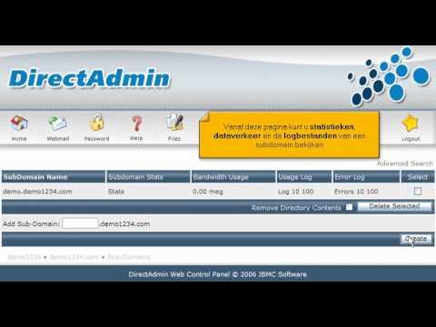 Een subdomein aanmaken in Direct Admin